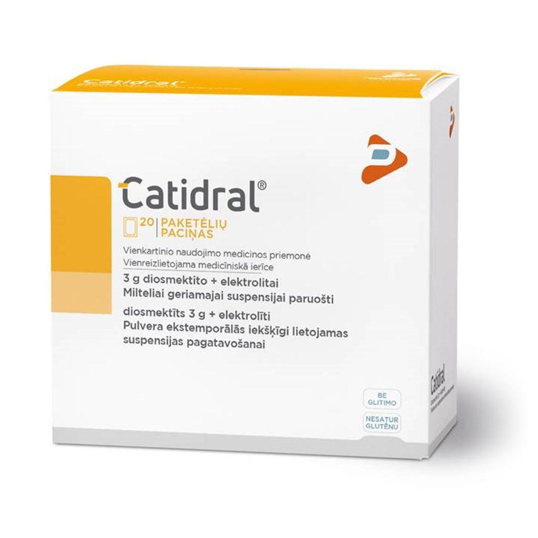 Milteliai nuo viduriavimo geriamajam tirpalui paruošti CATIDRAL, 20 vnt.