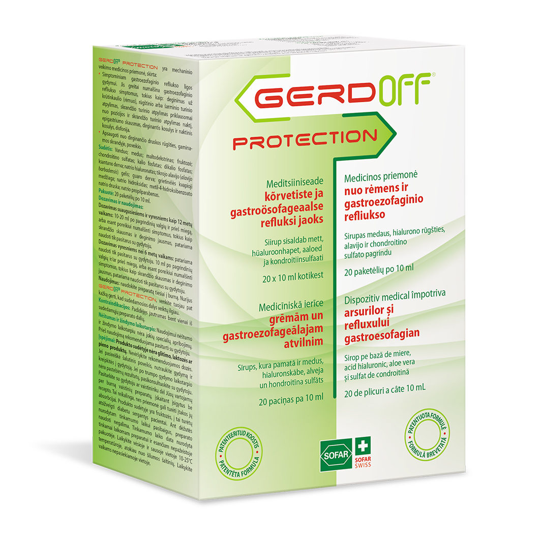 Gerdoff Protection syrup for heartburn, 20 packs